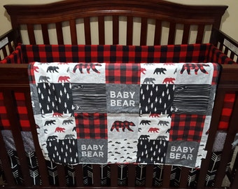 Baby Boy Crib Bedding - Baby Bear, Black Arrows, Red Black Buffalo Check, Black, and Gray Crib Bedding Ensemble