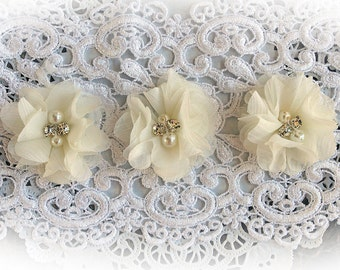 Reneabouquets Flower Set -Ivory Chiffon, Pearl And Rhinestone Fabric Flowers