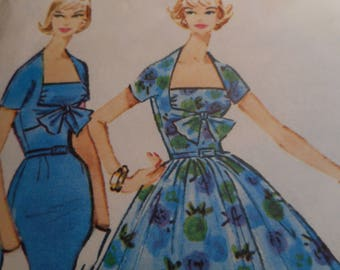 Vintage 1950's McCalls 4885 Dress Sewing Pattern Size 12 Bust 32