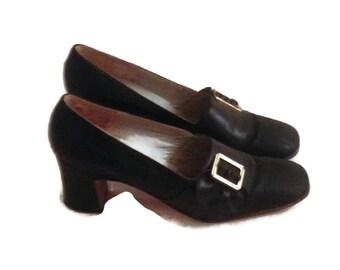 Ladies Vintage Black Buckle Shoes