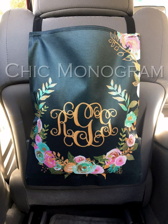 Monogrammed Car Trash Bag Car Organizer Custom Car Trash Can Mint and Gold Floral Classy Black Personalized Car Accessories Car Decor