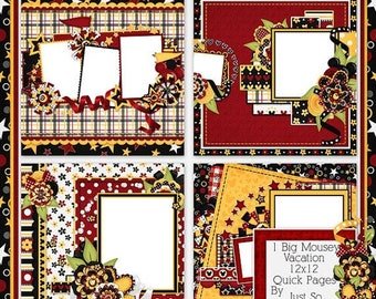 On Sale 50% Big Mousey Vacation Digital Scrapbook Kit 12x12 Quick Pages - Digital Scrapbooking