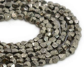 0120 4mm Faceted Pyrite nuggets loose beads 15.5""