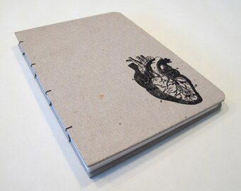 Valentine's Anatomical Heart Handmade Journal Notebook: Hardbound Coptic Book