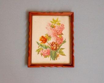vintage floral bouquet framed picture