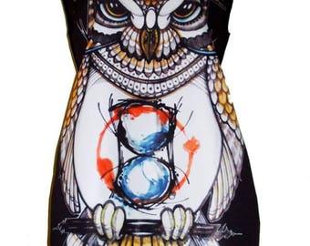 Black Dress Tunic with Owl Print