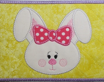Machine Embroidery Design-Mug Rug-Applique' Easter Bunny with 2 sizes, 5x7 and 6x10 hoops