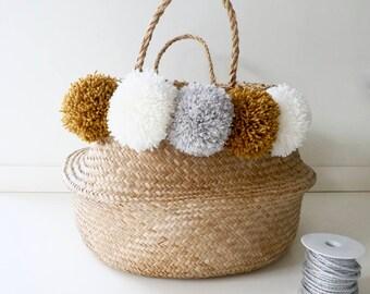 Thai 45cm tassel Pearl gray, mustard and cream basket