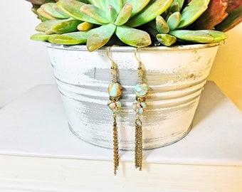 Terra Cotta jasper chain fringe dangle earrings
