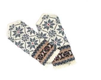 Gray White Hand Knitted Mittens Wool Mittens Hand Knitted Gray White Gloves Wool Gloves Winter Mittens Patterned Mittens Latvian Mittens