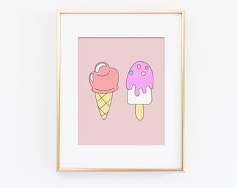 Ice Cream Art Print, Sweet Dreams Nursery Art, Pastel Nursery, Rainbow Nursery, Girls Bedroom Art, Playroom Art Print, Instant Download