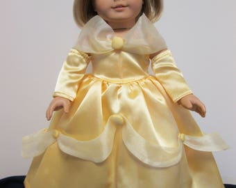"""18"""" Doll Clothes Beauty and the Beast Belle Ball Gown Made To fit American Girl"""