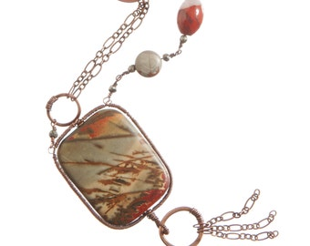 Picture Jasper Pendant Necklace, Wirewrapped, Copper Handforged Clasp and Links, Orginal Design
