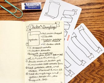 """Banner and Scroll Tracing Card, fits Traveler's Notebook, Leuchtturm and Moleskine 5"""" by 7"""""""