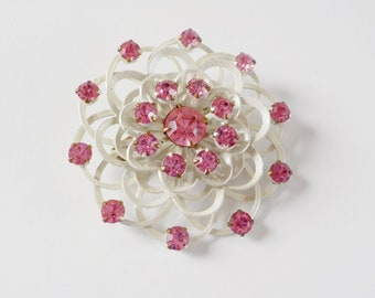 Vintage Enameled and Rhinestone Round Brooch • White and Pink Vintage Brooch