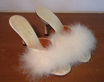 Vintage 1960's  High Heeled Boudoir Shoes w/Feathers