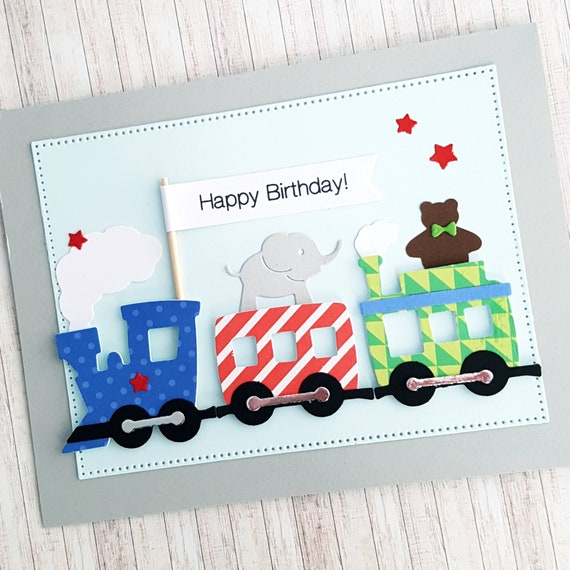 Happy birthday dimensional train card first birthday card like this item bookmarktalkfo Image collections