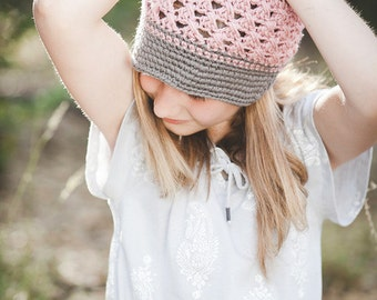Gray and dusty rose Newsgirl Newsboy crocheted hat all sizes available brim, brimmed, bill  baby toddler child tween teen adult