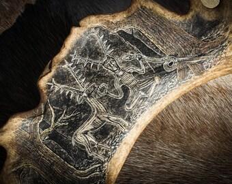 CERNUNNOS Carved Deer ANTLER from Gundestrup Cauldron Celtic God La Tene Iorn Age Pagan Heathen Herne Lord Greenman Scrimshaw Stag Mythology