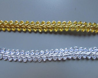 Gold or Silver 7mm Metallic Braid sold by the metre