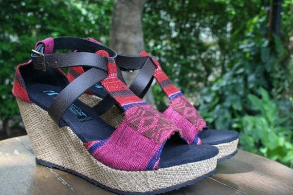 Womens Tribal Faux Ethnic Naga Wedge Straps Shipping Heel Leighanna Textiles Sandals FREE Vegan Leather Egdfq