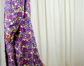 Spring Coat Women, Purple Coat, Linen Coat, Floral Print Coat, Funky Coat, Long Coat, 1960s Coat, Up Cycled, Size Large, Retro Style Coat