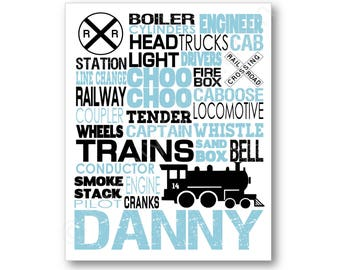 Train Typography Poster Print, Train Lover Art, Train Gift, Train Room Art, Gift for Train Nursery Art, Train Name Art, Train Canvas Art