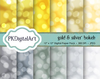 "Bokeh Digital Paper - ""Gold and Silver""  Gold Silver Scrapbook Paper Background Crafting Supplies"