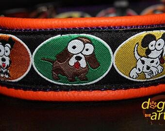 """Dog Collar """"Crazy Dogs"""" by dogs-art, dog collar, leather dog collar, comic dog collar, dog collar custom, dogz, cute dog collar"""