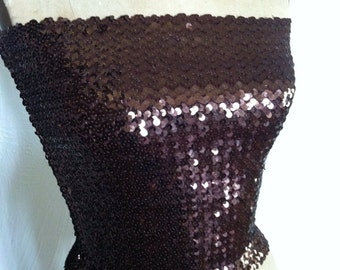 Copper Brown Sequin Disco Vintage Tube Top NOS Small