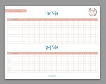 PINK Habit and Mood Tracker // PRINTABLE // High Quality Digital download PDF