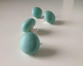 Porcelain Nugget Earrings in Turquoise , Pebble Earrings Faceted , pebble studs , Geometric earrings , sterling silver minimal studs for Her