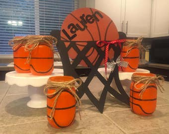 Mason Jar, Basketball Distressed with Burlap String