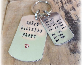 Birthday Gift for Daddy, Personalised Keyring, Personalized Dad Keychain, Gifts for Dads Birthday, Birthday Present, Husband, From Children
