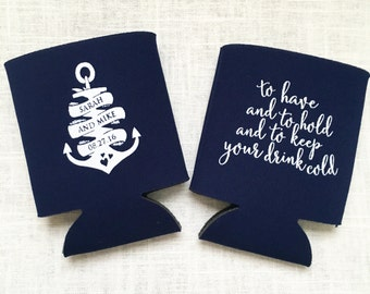 Nautical Wedding Can Coolers, Anchor, Personalized Can Coolers, Wedding Favors, Beer Sleeves, Can Sleeves, Navy - T327