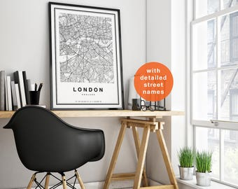 London Map, London City Map, London Print, Map Of London, London Map Print, London Poster, London Wall Art, Black And White City Map  Decor