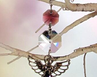 Amethyst Angel Crystal Sun Catcher, Christmas Ornament, 1S-23