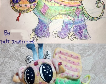 Custom made toy , personaliazed toy, softie from kid's picture, dragon