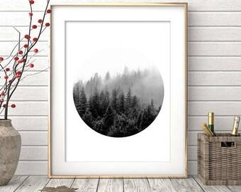 Forest Print, Black White Forest, Minimalist Print, Forest Art, Black White Prints, Forest Wall Print, Forest Art Decor, Minimalist Decor