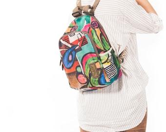 Handmade Backpacks, women backpack, Silky cotton backpack