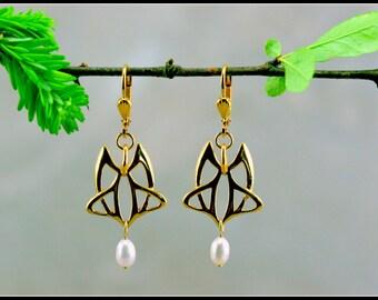 Art nouveau gold earring - celtic earrings - medieval earring and jewelry - handmade jewelry -medieval wedding - pearl earring