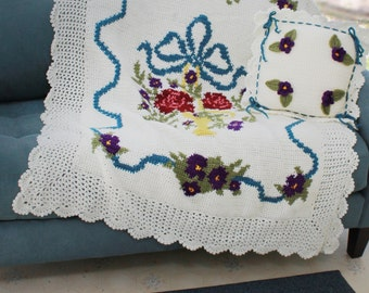 English Garden Afghan and Pillow Crochet Pattern PDF