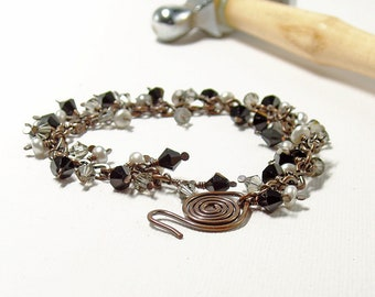 Black and Grey Crystal and Pearl Cluster Bracelet, Sophisticated Handmade Copper Jewellery