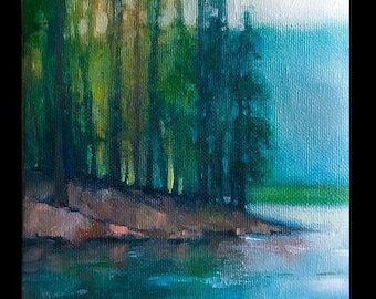 Original Oil Painting, Small Oil Painting, Small Landscape Painting, Landscape Oil Painting, Trees, hills, country, Forest, Lake, Mountains