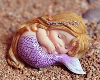 Sleeping miniature fairy garden Purple Mermaid, Baby Mermaid, Topper, Fairy Garden