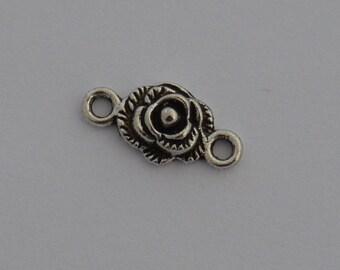 8 19x10mm antique silver flower connectors