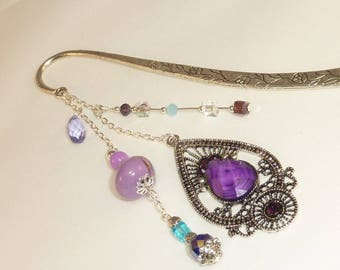 "Large bookmark Silver ""Indian"" Purple"