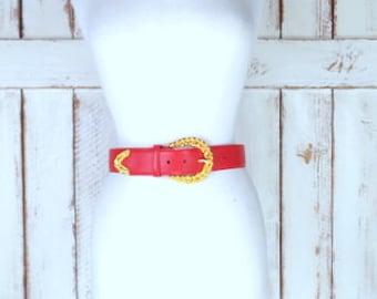 Vintage 90s Jones Wear wide red leather belt/gold metal buckle belt/small