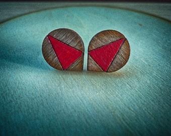 Mini wood studs-Hand painted earrings-Cute laser cut earrings-Wood jewellery-Silver pins 925-Wood laser cut earrings