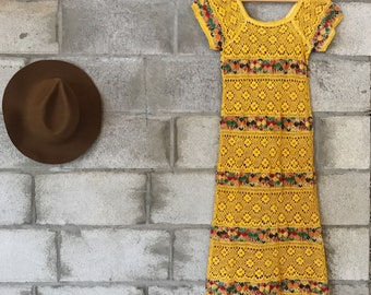 Vintage 1970s mexican embroidered crochet lace dress